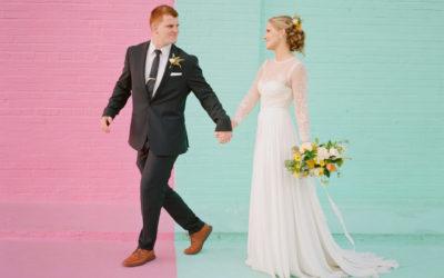 M+N's Cheerful Blue + Yellow Wedding